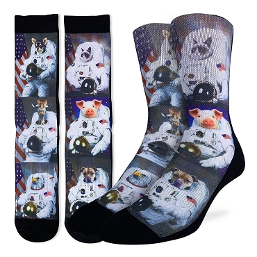 Animals Dressed Up As Astronaut Socks Men's size 8-13