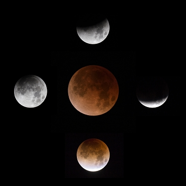 Phases of the Lunar eclipse in compass positions with the full eclipse in the center on black background