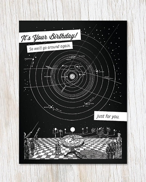 It's Your Birthday! Solar System Vintage Greeting Card