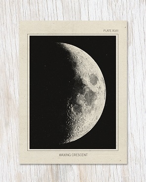 Waxing Crescent Moon Greeting Card