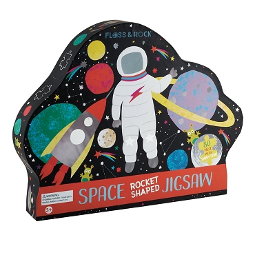 Space Rocket-Shaped Jigsaw - 80 Piece