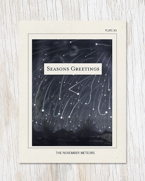 November Meteors Seasons Greetings Card