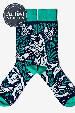 Prowling Wolf Navy Blue Teal Socks  Adult 7-13