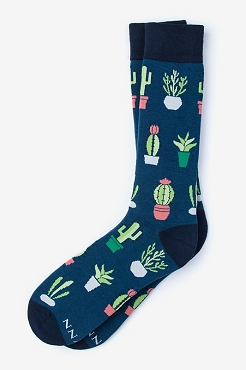 Succy Socks Potted Cactus Navy Blue Socks Adult size 7-13